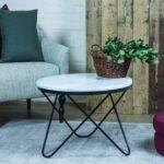 Stolik boczny, stolik kawowy, marmur - Carrara Bianco - PARABOLA