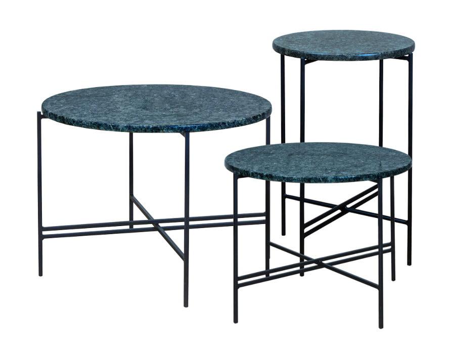 Zestaw stolików kawowych, stolików bocznych, stolików okolicznościowych, z blatem granitowym Olive Green - CROSS