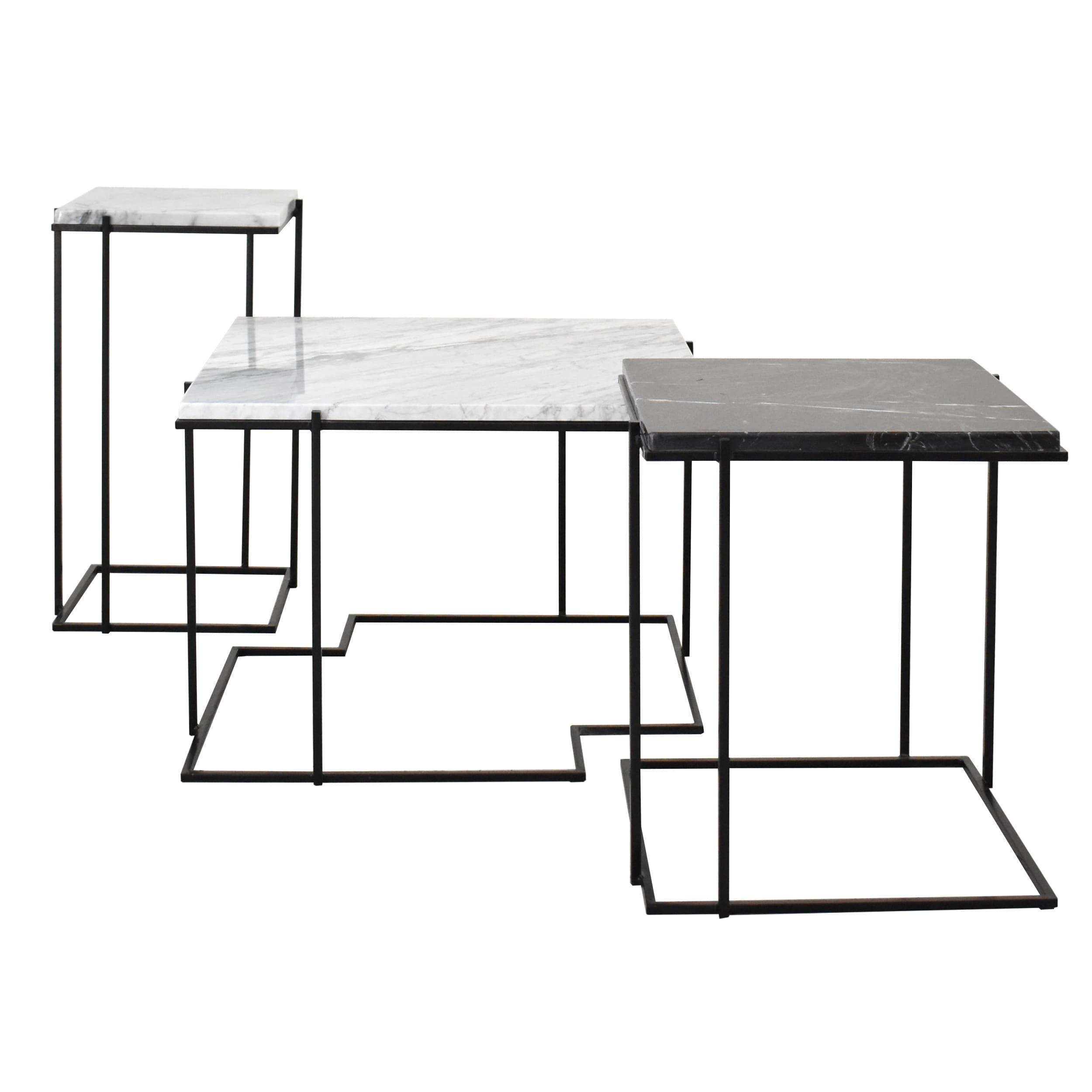 Zestaw stolików kawowych, stolików bocznych, stolików okolicznościowych, z blatem marmurowym (biały- Carrara Bianco, czarny - Nero Marquina)- SLEEK, WHITE PUZZLE, WIDE SLEEK