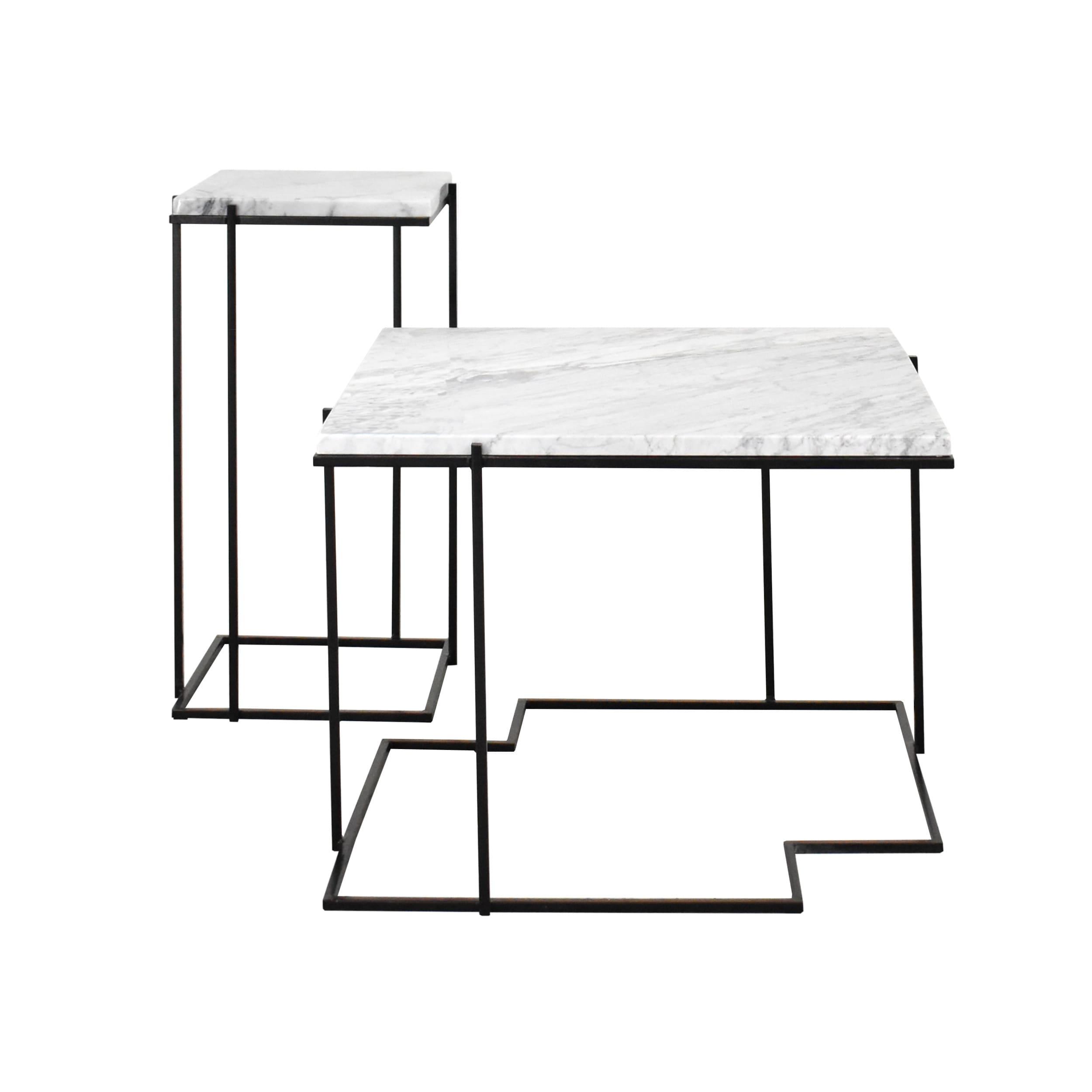 Stoliki kawowe, stolik okolicznościowe, stolik boczne, z blatem marmurowym Carrara Bianco - SLEEK WHITE PUZZLE, SLEEK